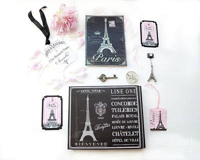 Paris Pink Black French Script Wall Decor Art, Paris Print Collection  - Parisian Pink Black Decor   Poster