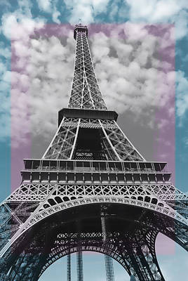 Paris Pink Blue Poster