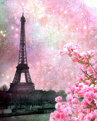 Paris Pink Dreamy Eiffel Tower Romantic Cherry Blossoms  - Paris Eiffel Tower Pink Spring Blossoms Poster by Kathy Fornal