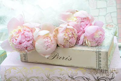 Paris Pink Peonies Romantic Shabby Chic French Market Peonies - Paris Romantic Peonies And Book Art Poster by Kathy Fornal