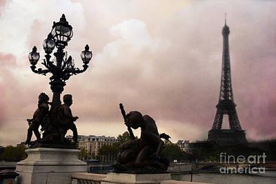 Paris Pont Alexandre IIi Bridge - Dreamy Romantic Paris Bridge With Cherubs Lanterns Eiffel Tower Poster by Kathy Fornal