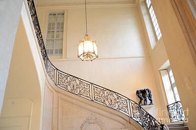 Paris Rodin Museum Staircase - Rod Iron Black Staircase Archictecture - Paris Museum Staircase Print Poster by Kathy Fornal