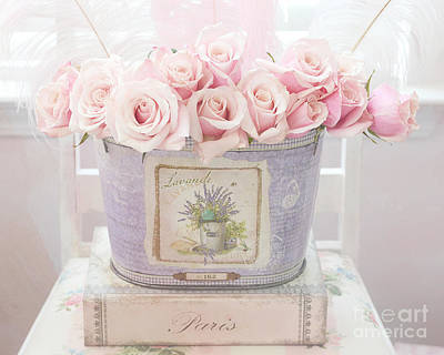 Paris Romantic Roses Pink Pastel Roses - Romantic Shabby Chic Pink Roses Lavender Decor Poster by Kathy Fornal