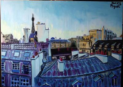 Paris Rooftops Poster by Miguel Santos