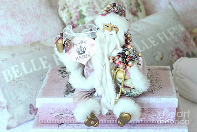 Paris Shabby Chic Pink And White Santa - Joyeux Noel - Shabby Chic Santa Claus Prints Home Decor Poster