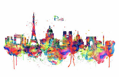Poster featuring the mixed media Paris Skyline 2 by Marian Voicu