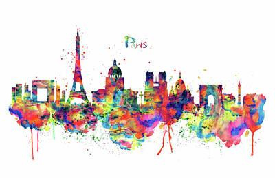 Paris Skyline 2 Poster by Marian Voicu