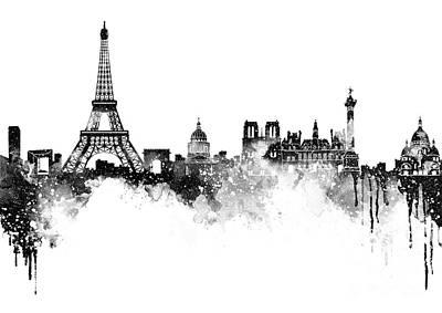 Paris Skyline Italy Poster by Prar Kulasekara