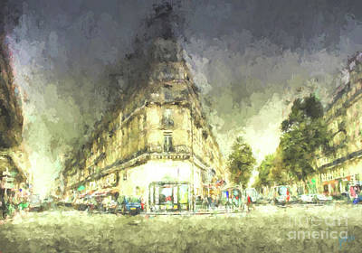 Poster featuring the mixed media Paris Streets by Jim  Hatch