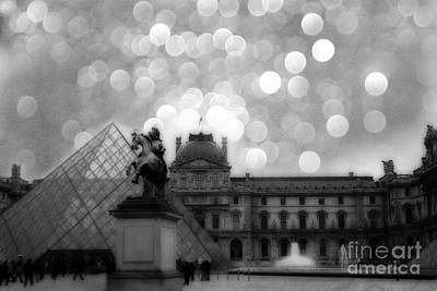 Paris Surreal Louvre Museum Pyramid Black And White Architecture Poster by Kathy Fornal