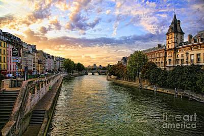 Paris The Seine River C Poster by Chuck Kuhn