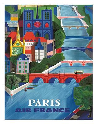 Paris The Seine River Vintage Travel Poster By Jean Vernier Poster by Retro Graphics