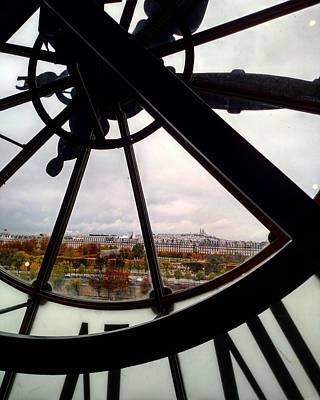 Paris Through Giant Clock Poster