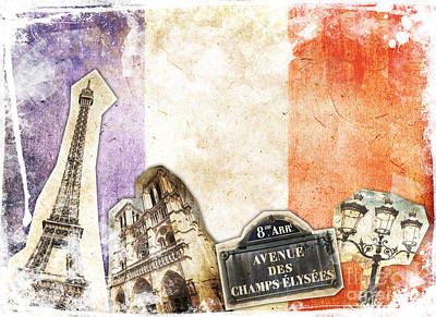 Paris Vintage Collage Poster by Delphimages Photo Creations
