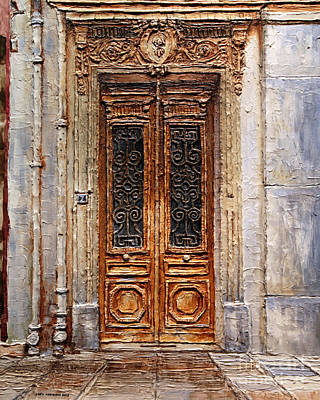 Poster featuring the painting Parisian Door No.7 by Joey Agbayani