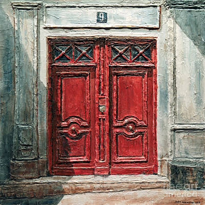 Poster featuring the painting Parisian Door No.9 by Joey Agbayani