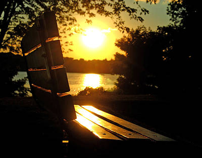Park Bench At Sunset Poster