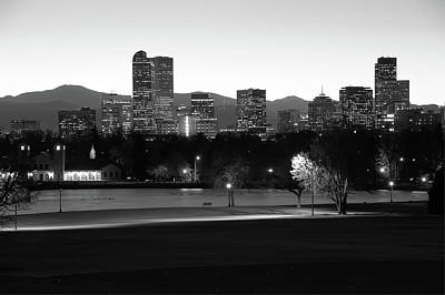 Poster featuring the photograph Park Bench Under The Denver Colorado Skyline - Black And White by Gregory Ballos