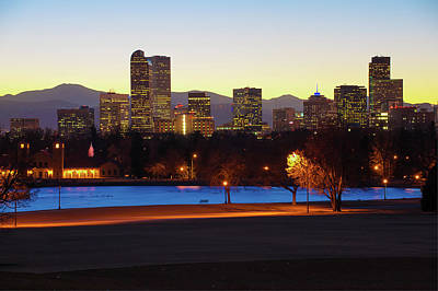 Poster featuring the photograph Park Bench Under The Denver Colorado Skyline by Gregory Ballos