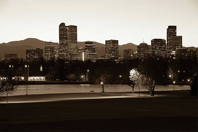 Poster featuring the photograph Park Bench Under The Denver Colorado Skyline - Sepia 2 by Gregory Ballos