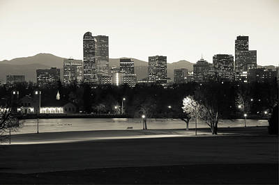 Poster featuring the photograph Park Bench Under The Denver Colorado Skyline - Sepia by Gregory Ballos