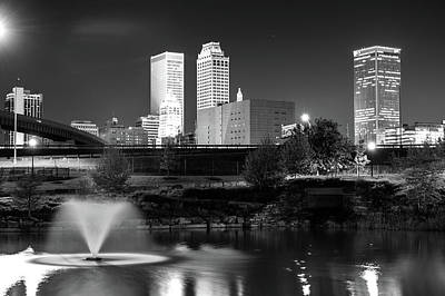 Park View Of The Tulsa Skyline Black And White - Oklahoma Usa Poster by Gregory Ballos