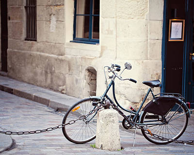 Parked In Paris - Bicycle Photography Poster