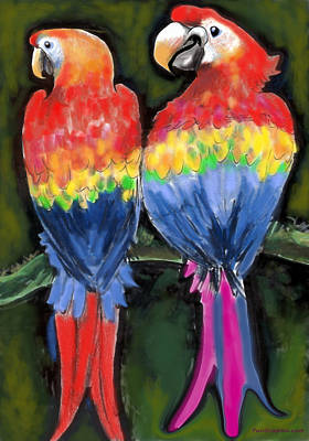 Poster featuring the painting Parrots by Kevin Middleton