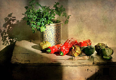 Poster featuring the photograph Parsley And Peppers by Diana Angstadt