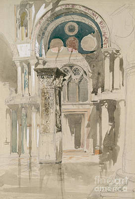 Part Of Saint Mark's Basilica, Venice  Sketch After Rain Poster by John Ruskin