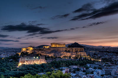 Parthenon And Acropolis At Dawn Poster by Michael Avory