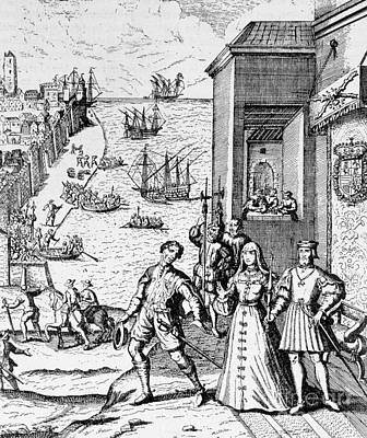 Parting Of Columbus With Ferdinand And Isabella Poster