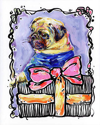 Party Animal Pug Painting By Kim Guthrie Art Poster