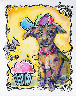 Party Animal Puppy Painting By Kim Guthrie Art Poster