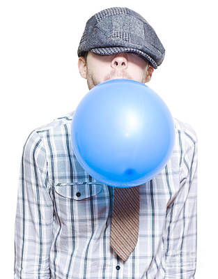 Party Boy Blowing Up New Years Eve Balloon Poster by Jorgo Photography - Wall Art Gallery