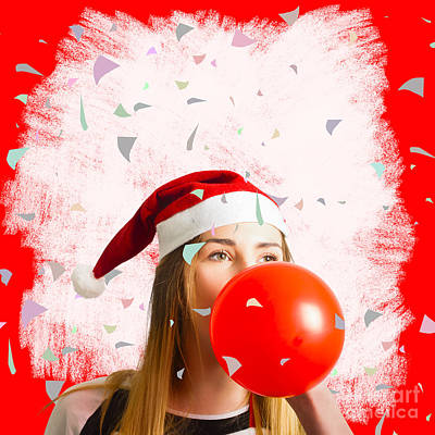 Party Planning Santa Girl At Christmas Event Poster by Jorgo Photography - Wall Art Gallery