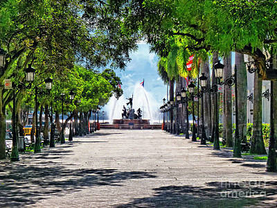 Paseo De La Princesa With The Roots Fountain Poster by George Oze