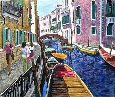 Passers By, Venice Poster by Mary Villanueva-Tuomy