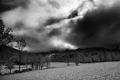 Poster featuring the photograph Passing Snow In North Carolina In Black And White by Greg Mimbs