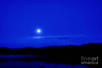 Passover Moon Over Lake Poster