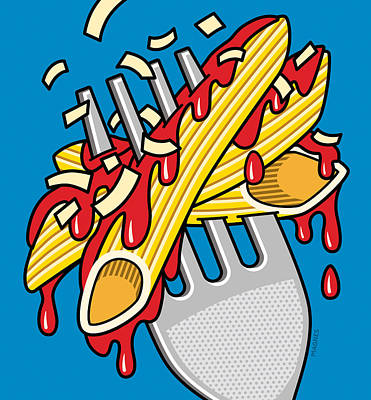 Pasta On Blue Poster by Ron Magnes