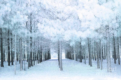 Pastel Baby Blue Nature Trees Woodlands - Baby Boy Pastel Blue Nursery Nature Decor Prints Wall Art Poster by Kathy Fornal