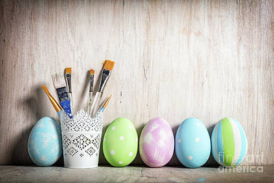 Pastel Easter Eggs And Brushes In A Rustic Cup Poster by Michal Bednarek