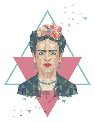 Pastel Frida - Geometric Portrait With Triangles Poster by Julia Jasiczak