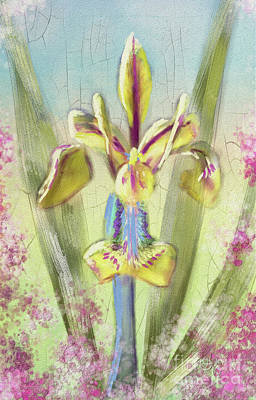 Poster featuring the digital art Pastel Iris by Lois Bryan