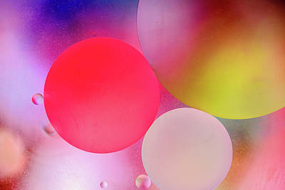 Poster featuring the photograph Pastel Oil Bubble Water Drops by John Williams
