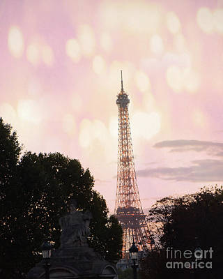 Poster featuring the photograph Pastel Paris Eiffel Tower Sunset Bokeh Lights - Romantic Eiffel Tower Pink Pastel Home Decor by Kathy Fornal