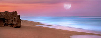 Pastel Sunset And Moonrise Over Hutchinson Island Beach, Florida. Poster