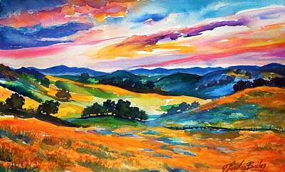 Pastoral Poppies On Yokohl Valley Poster by Therese Fowler-Bailey