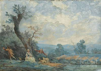 Pastoral Scene With Shepherds Poster by MotionAge Designs